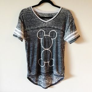 Disney Mickey Mouse Gray Burnout Graphic Tee